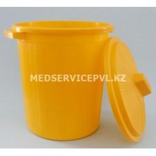 Бак пластиковый с крышкой для сбора мед отходов 12л (желтый)